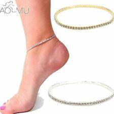 Doppel Fußkette Damen Kristall Silber Fußkette Fuß Schmuck Mädchen Strand Kette