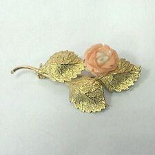 18k Gold Carved Coral Flower Brooch