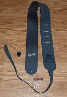 Gibson Leather Strap Gold Logo Genuine Guitar Parts SG Les Paul HP Custom Studio