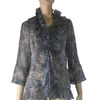 QUEENSPARK WOMEN ANIMAL PRINT RUFFLE BLOUSE SIZE 12