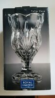 Tulips! ROYAL LIMITED 24% LEAD CUT CRYSTAL VASE CZECH REPUBLIC ELEGANT HEAVY 6