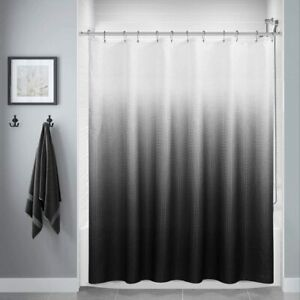Black White Textured Ombre Graident Boho Fabric Shower Curtain with Hooks