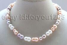 "Baroque Twins Pearl Necklace #f2709! 17.5"" Genuine Natural 17mm Multicolor"
