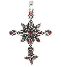 Kreuz mit roten Zirkonia Steinen Sterlingsilber 925 Schlangenkette mit Anhänger