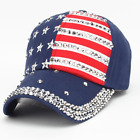American Flag Low Profile Baseball Cap US Flag Hat Adjustable- Red, White & Blue