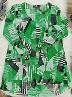 ALFANI Women's Green Black White 3/4 Sleeve Geometric Top Size XS