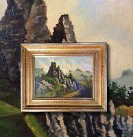 Felsige Landschaft in den Bergen. Original altes Ölgemälde +Prunkrahmen