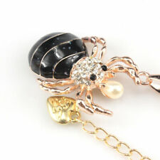 Betsey Johnson Spider Black Faux Pearl Pendant Necklace Rhinestone Charm