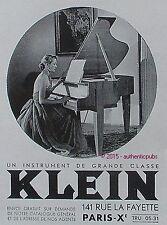 PUBLICITE KLEIN PIANO INSTRUMENT DE MUSIQUE CLASSE DE 1952 FRENCH AD PUB VINTAGE