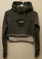 GYMSHARK Cropped Raw Edge Hoodie Women's Size Small Grey Pullover Sweater