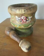 More details for antique sicilian wooden pestle & mortar with original painted body