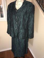 MIDNIGHT VELVET black/green Crepe Skirt Suit Rhinestone Crested Buttons Sz 16