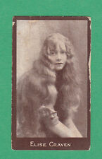 R.  &  J.  HILL  LTD. - RARE ACTRESS CHOCOLATE CARD  -  ELISE  CRAVEN  - 1917