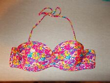 The Fille Womens Size M Multi-color Floral Padded Push Up Bikini Top