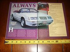 1984 MUSTANG GT350 CONVERTIBLE - ORIGINAL 2000 ARTICLE