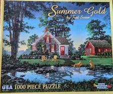 White Mountain Summer Gold Fred Swan 1000 Pc Jigsaw Puzzle Country Cottage Dogs