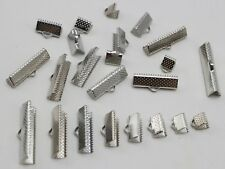 100 Assorted Silver Tone Ribbon Necklace Cord End Caps Crimp Tips 6mm-30mm