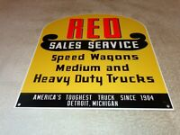 "VINTAGE REO SPEEDWAGON SALES SERVICE 12"" METAL TRUCK MICHIGAN GASOLINE OIL SIGN!"