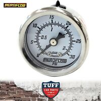 "Aeroflow White 0 - 30 PSI Carb Fuel or Oil Pressure Gauge 1.5"" 38mm 1/8"" NPT"