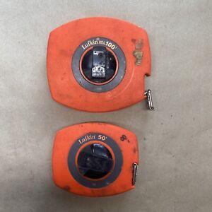 LUFKIN USA 100 + 50 FT UNIVERSAL METAL TAPE MEASURE High Visibility Orange Case