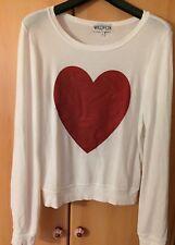 Wildfox Sparkle Heart Pullover - Herz - Weiß Damen S
