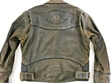 HARLEY DAVIDSON BILLINGS DISTRESSED LEATHER MOTORCYCLE JACKET MEDIUM BROWN