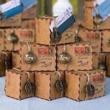 10x Gastgeschenk Box Air Mail 5 Anhänger | Kompass Weltkugel Hochzeit Vintage