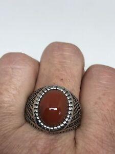 Vintage Genuine Carnelian Men's Stainless Steel Ring Size 9