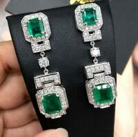 Colombian Deep Green 32.94 Carat Emerald 3.20 Carat CZ Art Deco Vintage Earrings