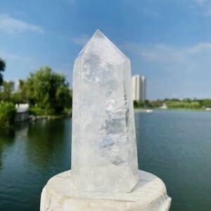 872g Natural White Crystal Obelisk Quartz Crystal Wand Point Healing Reiki