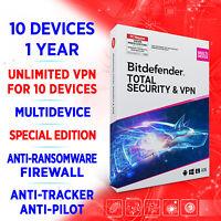 Bitdefender Total Security 2021 & Premium unlimited VPN 10 devices 1 Jahr