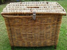 Vintage Wicker Cane Fishing Creel Storage Basket Seat Coffee Table