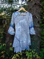 UNBRANDED SILK TUNIC/BLOUSE/TOP/DRESS- BLUE GREY-LAYERED HEM/SLEEVES-SIZE 10/12