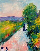 walk with a dog dirt road landscape impressionism original oil painting canvas