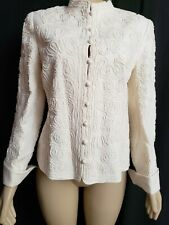 c1449093ab ELLEN TRACY 100% Linen Buttons Ivory Jacket Coat Size 8 NEW WITHOUT TAGS   390