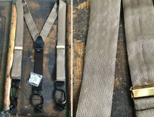 NEW NWT $35 100% SILK JACQUARD SUSPENDERS BRACES TAUPE BLACK PATENT LEATHER
