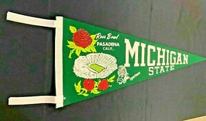 Spectacular Vintage 1956 Michigan State Spartans Rose Bowl Felt Pennant w 4 ties