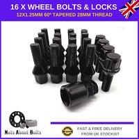 16 Black Alloy Wheel Bolts & L Locks M12X1.25 Nuts For Alfa Romeo Mito