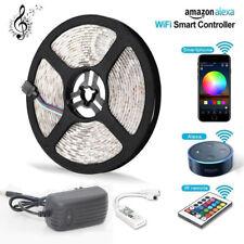5M Alexa LED Stripe RGB Leisten Streife 5050 Band Lichter Licht Leuchte WLAN DC