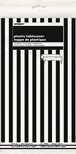 Birthday Party Decorate Black White Striped Plastic Table Cover Tablecloth 21st