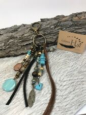 Large Leather Beaded Boho Tassel Purse Charm Keychain Fob Turquoise Feather Clip