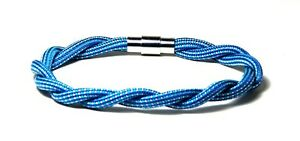 Braided paracord bracelet summer blue locking magnetic clasp 8 inch