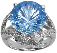 Blue Topaz Round Gemstone 11.46 carat Wrap Sterling Silver Ring size O