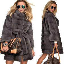 Womens Winter Warm Jacket Coat Parka Grey Faux Fur Plus Size Long Trench Outwear
