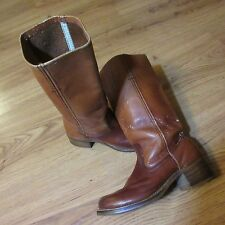 Vintage 70s Womens Brown Leather BOOTS WESTERN HIPSTER DISTRESSED BUSTED 1970s