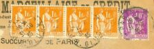 France 1f Strip of 4 + 40c Perfin SM used on Registered cover to USA 1935