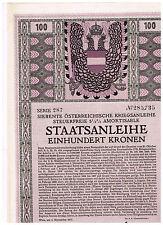 Siebente Österr. Kriegsanleihe, Wien 1917, 100 Kronen, ungelocht/ Kupons
