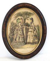 Vintage La Mode Illustree Oval Wooden Ornate Frame Victorian Paris 16 x 12.5''