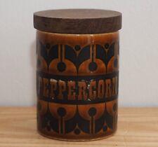 Hornsea spice jar Peppercorn Heirloom pattern wooden lid vintage brown orange