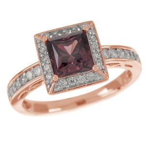 1.60 Ct Simulated 10K Rose Gold Over Chocolate Framed Square Princess Ring